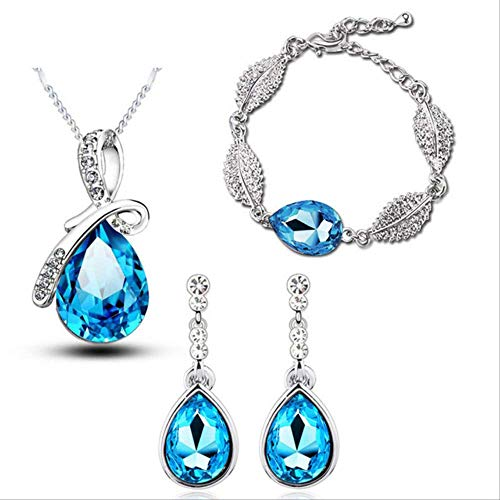 N\A Joyería De Cristal Austriaco Gotas De Hojas De Acacia Colgante Conjuntos De Joyas De Boda Collar + Pendientes De Araña + Pulseras Azul Marino