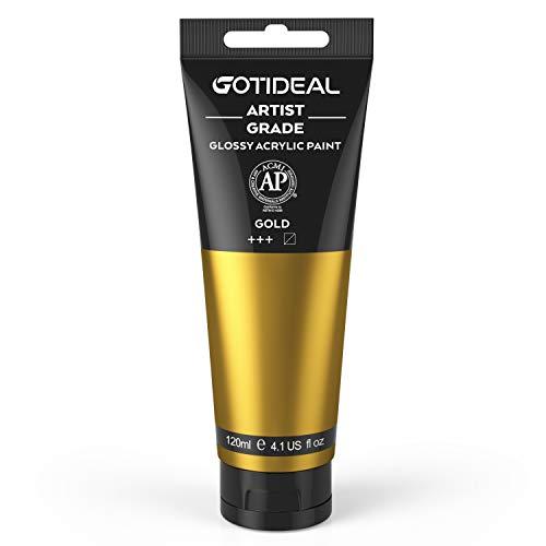 GOTIDEAL Acrylic Paint Metallic Gold Tubes(120ml