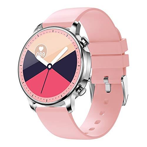 NVFED 2020 Moda Mujer Smart Watch 1.28'Monitor de Ritmo cardíaco de Salud Llamadas SMS Notificación DIY Reloj Face Best Gift Smart Watch (Color : Pink)