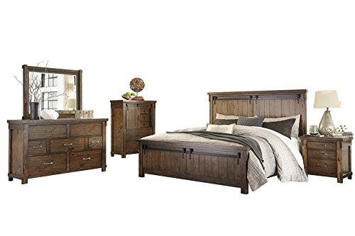 Buy Bargain Lakeleigh 5 PC Bedroom Set: Cal King Panel Bed Dresser Mirror 1 Nightstand Chest - Ashle...
