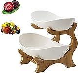 Haucy Obst Etagere, 2 Stöckig Obstkorb, 2 Etagen Keramik Obstschale mit Bambus ständer- für Küchendeko, Obst, Snacks- Kernvitamine im täglichen Leben (Weiß)