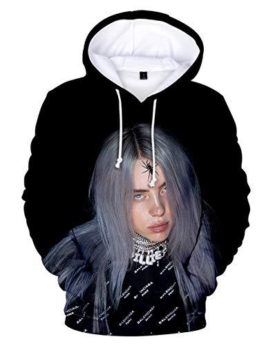 VERROL Felpa con Cappuccio Billie Eilish per Donna, Trend Singer con Billie Eilish Stampa di Lettere Hoodie Ragazza Music Fans Tinta Unita Manica Lunga Pullover per Unisex