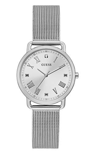GUESS Reloj analógico de cuarzo para mujer con correa de acero inoxidable, plateado, 184 (Modelo: GW0031L1)