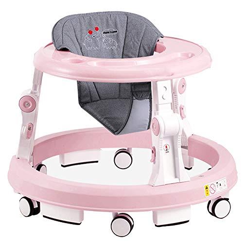 YUMEIGE Lauflernhilfen Baby lauflernhilfe2 höhenverstellbar, gehfrei lauflernhilfe anti-scratch flip design, lauflernhilfe großes leises universal gummirad (Color : Pink)