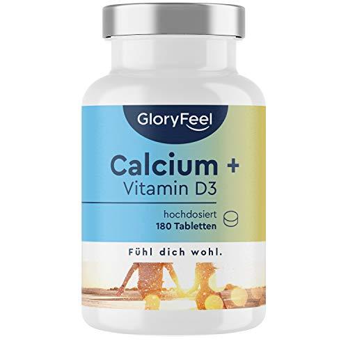 Calcium + Vitamin D - 180 Tabletten - 1000mg Kalzium hochdosiert + 1000 IE Vitamin D3 (25µg) pro Tagesdosis - Laborgeprüft ohne Zusätze hergestellt in Deutschland