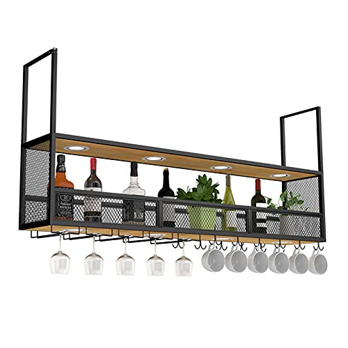 WWJ Botelleros de Hierro Metálico para Bares Estantes de Vino de Techo, Soporte de Copa de Vino Colgante, para Copas de Vino Estante para Botellas de Vino Tinto Europeo