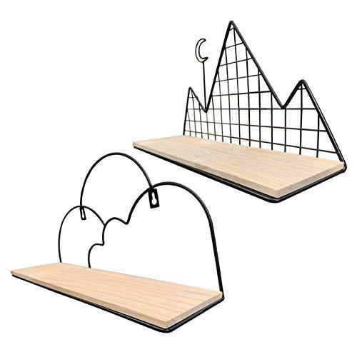 Amusingtao Juego de 2 estanterías flotantes de pared de madera rústica para dormitorio, cuarto de baño, salón, cocina, hotel