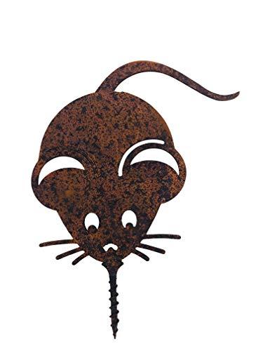 ecosoul Décoration de jardin en forme de souris avec épingle - En métal rouillé