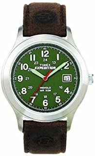 Timex Men's Expedition Metal Field Watch, Brown Leather Strap Dad Gift Fathers day