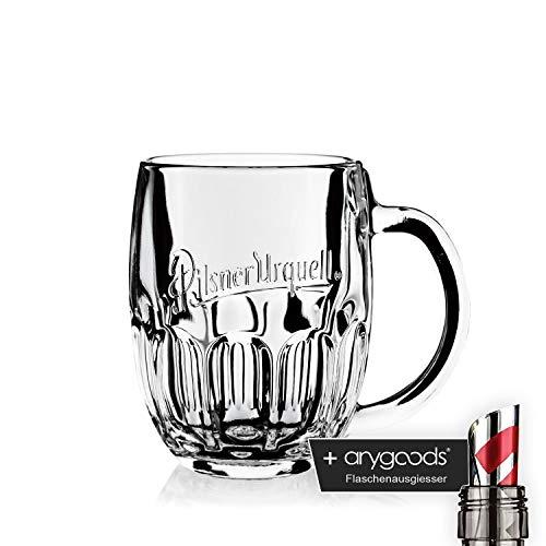 Pilsner Urquell Glas Gläser 0,3l Seidel Tankard Gastro Bar Deko NEU + anygoods Flaschenausgiesser