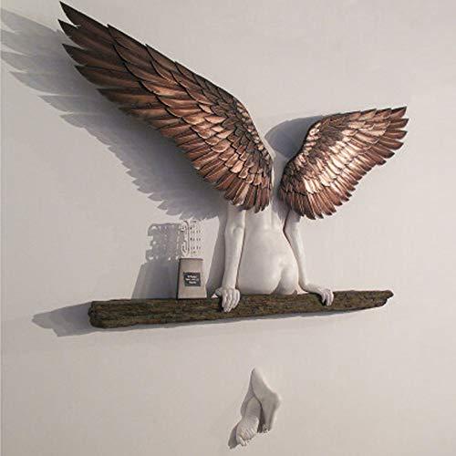 XTBL Wanddekoration 3D Statue Wandaufkleber Wandplatten Vintage Angel Art Skulptur Wanddekoration Engelsflügel Wandskulptur für Hause Weihnachten Schlafzimmer, Halle, Treppen, Babyzimmer