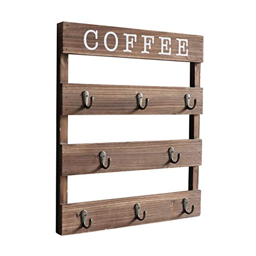"""EMAISON Coffee Mug Holder Wall Mounted Rustic Wood Cup Organizer with 8 Hooks for Home Kitchen Display Storage and Collection Brown 13"""" x 17"""""""