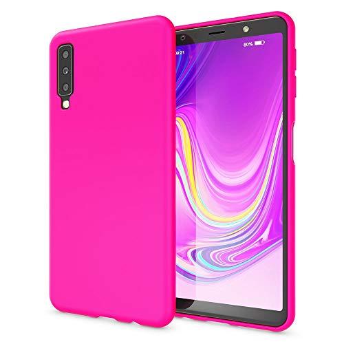NALIA Handyhülle kompatibel mit Samsung Galaxy A7 2018, Ultra-Slim TPU Silikon Hülle Neon Hülle, Dünnes Phone Cover Gummi Schutzhülle Skin, Etui Handy-Tasche Backcover Smartphone Bumper, Farbe:Pink