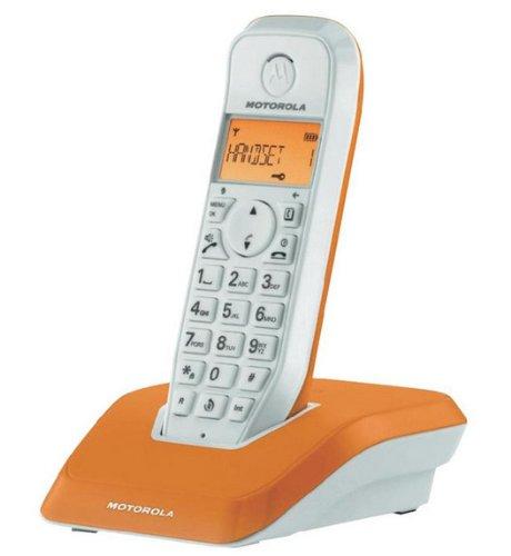 Motorola Startac S1201 DECT Schnurlostelefon (Analog, Freisprechen, ECO-Modus, Displaybleuchtung auf Gerätefarbe abgestimmt) orange