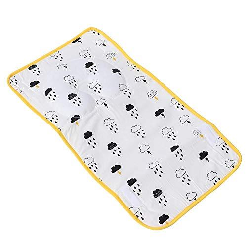 Matras Voor Kinderen - Waterdichte Ondermat Voor Baby's - Herbruikbare Ademende Pad - Opvouwbaar En Draagbaar, Sneldrogend En Comfortabel 64 x 35 Cm(Geel)