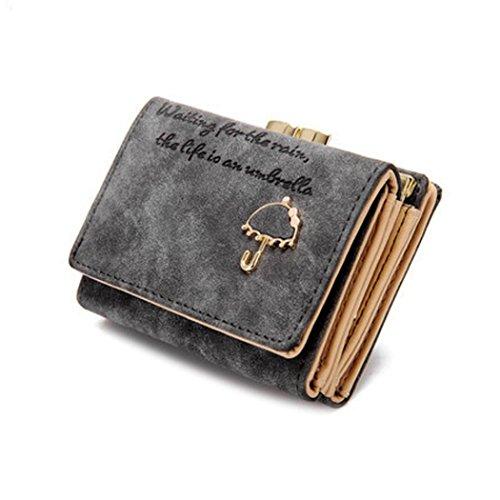 Portafoglio Donna, DDLBiz Donne Ombrello Portafoglio in pelle pulsante della frizione della borsa (grigio)