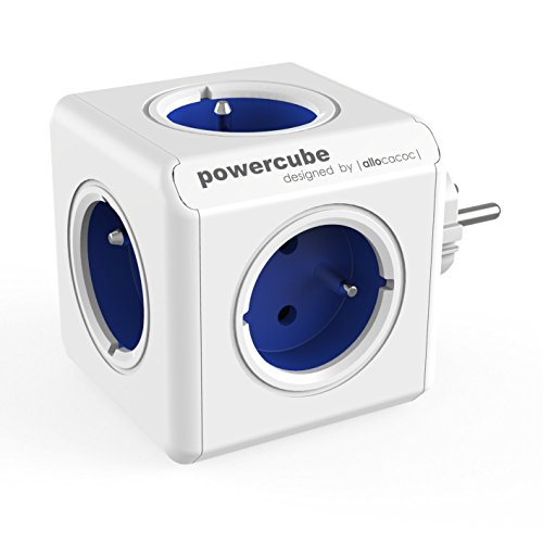 Allocacoc PowerCube Original Type E, verlengkabel, kleur: blauw