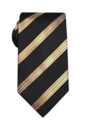 "Remo Sartori Made in Italy Extra Long XL Gold Striped Necktie, 61""- 69"" Length, Silk (Black, 65 Inch Length)"