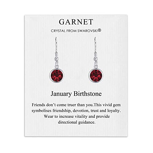 January Birthstone Drop Earrings Created with Garnet Austrian Crystals