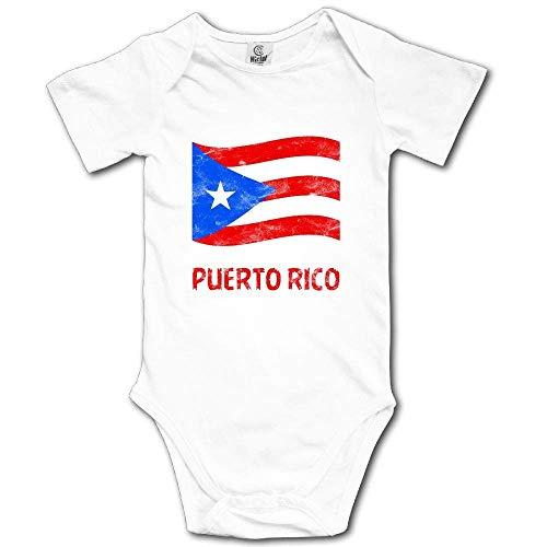 Mono de Manga Corta para bebé con la Bandera de Puerto Rico Blanco Blanco 12 Meses