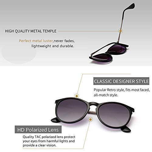 SUNGAIT Vintage Round Womens Sunglasses Classic Retro Designer Style (Polarized Grey Gradient Lens/Black Frame) 1567 PGHKSHUK