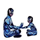 MIANslippers Venom Spiderman Body Halloween Cosplay Disfraces Jumpsuit Performance Fiesta de cumpleaños Medias Regalos Onessis,Blue-Kids(S)
