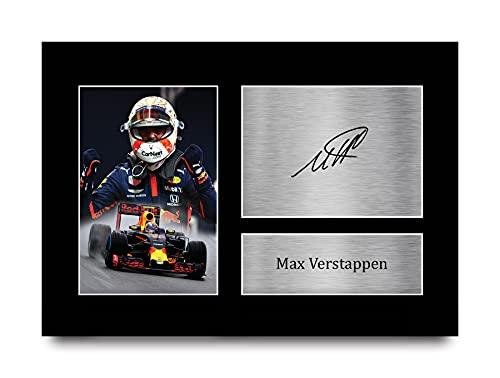 HWC Trading A4 Max Verstappen Formula 1 Geschenken Afgedrukt Gesigneerde Handtekening Foto Voor F1 Formule 1 Racen Fans