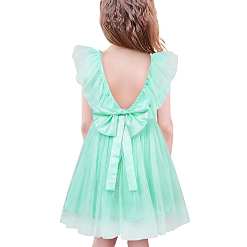 SFreeBo Vestito Bambina Elegante Cerimonia Vestito Damigella Bambina Sposa Compleanno Principessa Abito da Battesimo 7-8 Anni