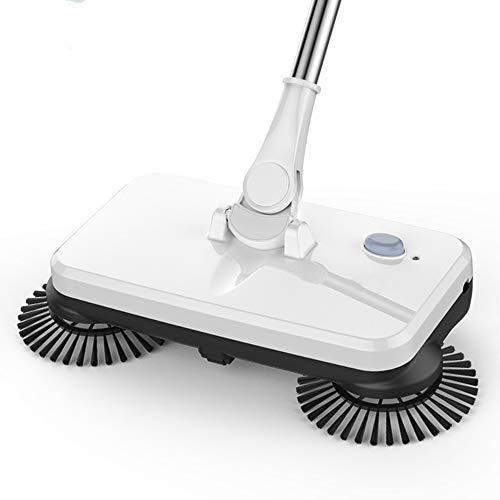 KIUY Deluxe Bodenkehrmaschine mit seitlichen Kehrbürsten, automatischer Handkehrmaschine Besen - Harte Bodenreinigung, einfach zu montierender Drehgriff