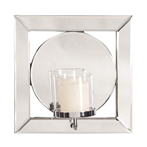 Howard Elliott Lula Square Hanging Accent Wall Mirror with Candle Holder, 12 x 12 Inch