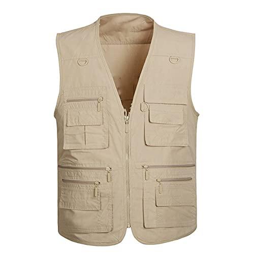 Chaleco de trabajo chaqueta sin mangas para hombre al aire libre chaleco tiene muchos bolsillos