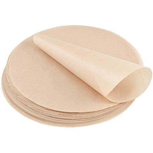 Irich 100 Stück Antihaft Rund Holz Backpapier, Antihaftbeschichtet & Fettdicht für Kuchen BBQ Grillen Pfannen Backen Hamburgerpresse Dessert (8 Zoll, Bär bis 220 Grad)