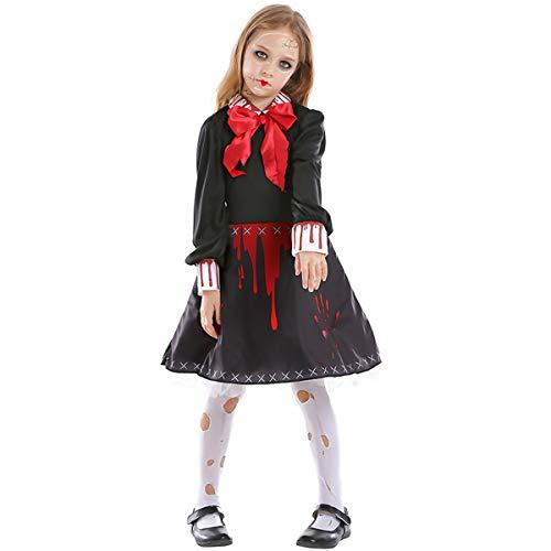 AYUSHOP Kinderkleid Cosplay Partei-Kostüm, Halloween-Party Kinder Horror verfluchte Puppe Keramik Puppe Kinderdruckkleid, Prinzessin Party Kleider Karneval Kostüm