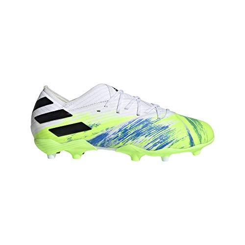 adidas Nemeziz 19.1 FG J, Zapatillas de fútbol para Niños, FTWR White Core Black Signal Green, 28.5 EU