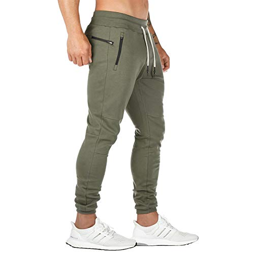 Musgneer Men's Gym Tapered Slim Fit Jogger Pants Workout Casual Running Trousers with Zipper Pockets, Army Green, Large