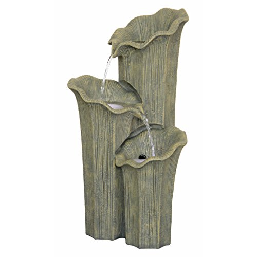 Water Fountain with LED Light - Three Lilies Garden Decor Fountain - Outdoor Water Feature
