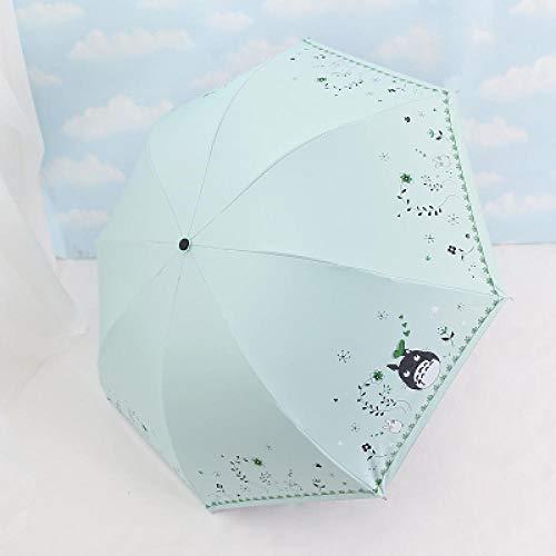 Regenschirme Neue Kreative Ölgemälde Regenschirm Kleinen Schwarzen Regenschirm Sonnenschutz Uv Falten Dual-Use-Student Sonnenschirm-My Neighbor Totoro Black Sunscreen Mint Green