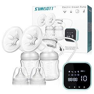 Sacaleches Eléctrico, SUMGOTT Recargable doble saca leche electrico con pantalla Táctil Sensible 8 Modos y 10 de Succión