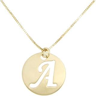 forme di Lucchetta per Donna - Collane 45cm con Iniziale Nome in Vero Oro Giallo - Lettera Alfabeto A B C D E F G H J K I ...