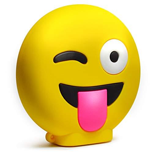 KawKaw Emoji-Powerbank mit 8800 mAh und 2X USB-Anschluss - Viele Motive wie lustige Smileys & süße Emojis - Geschenkidee witzig & innovativ - Kuss, Grinsen, Zwinkern, Zunge, Herzen (Freche Zunge)