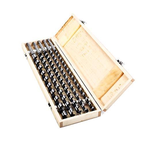 5-tlg. 460mm Länge Ø - 12/14 / 16/18 / 20mm Schlangenbohrer Set, Holzschlangenbohrer Set, Schneckenbohrer Bohrer Holzbearbeitungswerkzeug, mit Werkzeugkasten
