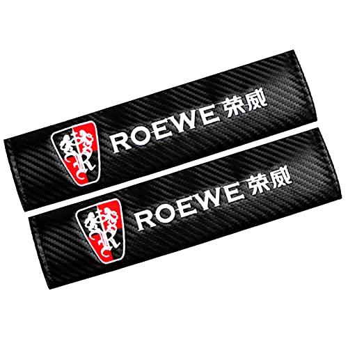 ONETOOSE 2 Fundas para CinturóN De Seguridad para Hombreras, Fibra De Carbon,con Logotipo Bordado, Funda Protectora para CinturóN De Seguridad, para Roewe Logo