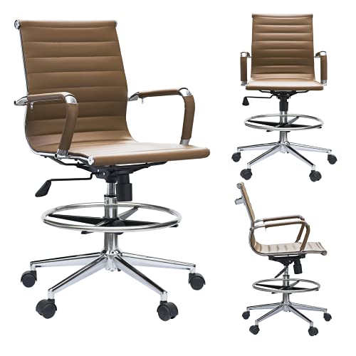 2xhome - Modern Ergonomic PU Leather Mid Back Ribbed Drafting Office Chair with Chrome Armrest Foot Rest Tiltable Seat Rolling Chair (Tan)