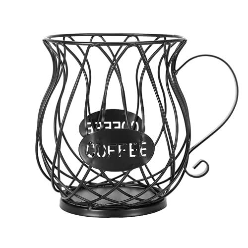 Cestello Portaoggetti per Caffè, Grande capacità Cestello Porta caffè Porta Capsule caffè con Manico Black, Porta Capsule Multiplo Porta caffè Espresso Porta Capsule caffè Portaoggetti da Cucina