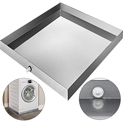 VBENLEM Galvanized Washing Machine Drip Pan 18 GA Thickness Heavy Duty Compact Washer Drain with Hole, 32 x 30 x 2.5 Inch