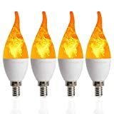 4 Pack LED Simulated Fire Flicker Flame Candelabra Bulbs,2W 1800K Warm White Flickering E12 Flame Effect Light,3 Lighting Modes Emulation, General, Breathing for Indoor and Outdoor Decoration