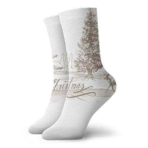 Calzini morbidi a metà polpaccio romantici vintage per capodanno con renna e stella design antico, calze da donna e da uomo, ideali per correre