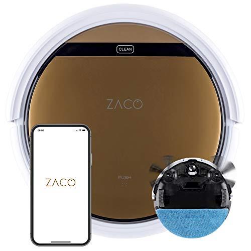 ZACO - Robot Aspirateur V5x avec WiFi Connecté Alexa, Google & Appli - Aspirateur Robotique Laveur de Sol 2 en 1 sans Fil avec Poubelle et Base de Vidange - Nettoyeur Lavant pour Poil Animaux et Chien