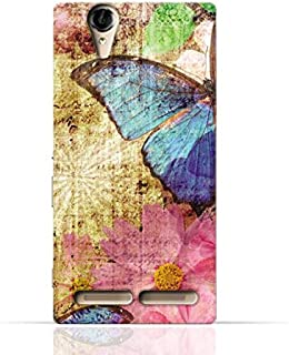Sony Xperia T2 Ultra TPU Silicone Case with Vintage Butterfly Pattern