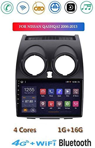 Android 8.1 GPS Navigation Stereo Radio, para Nissan Qashqai 2006-2013, 9' 1080P HD Pantalla Táctil Completa Reproductor Multimedia, Control Volante Bluetooth Hands-Free Calls SWC,4G+WiFi2G+32G